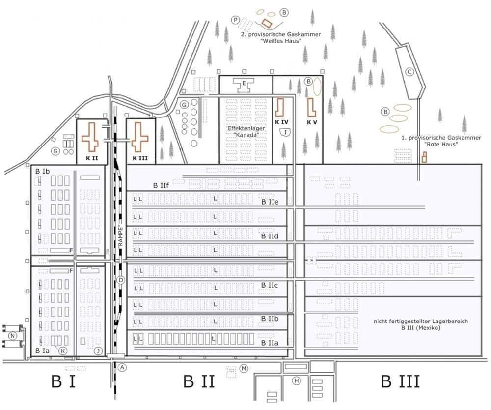Auschwitz II - Birkenau Lageplan