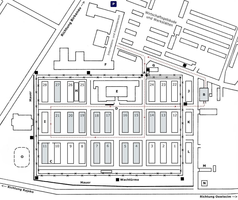 Auschwitz I - Stammlager Lageplan