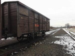 """Auschwitz-Birkenau Wagon auf der """"Alten Judenrampe"""""""